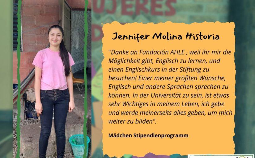 Warum und Wofür: wir freuen uns Jennifer durch ein Stipendium weiter unterstützen zu können!
